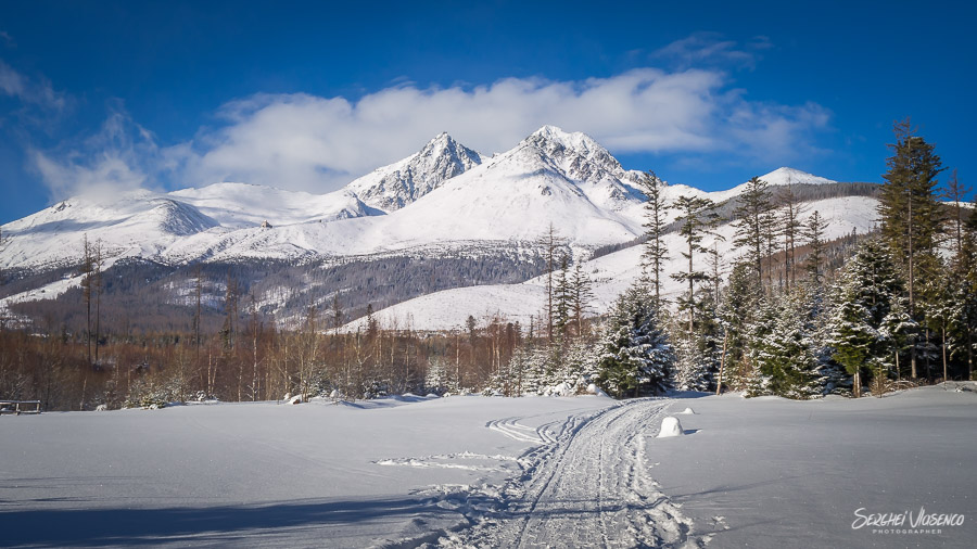 Landscape photography in winter snowy mountains