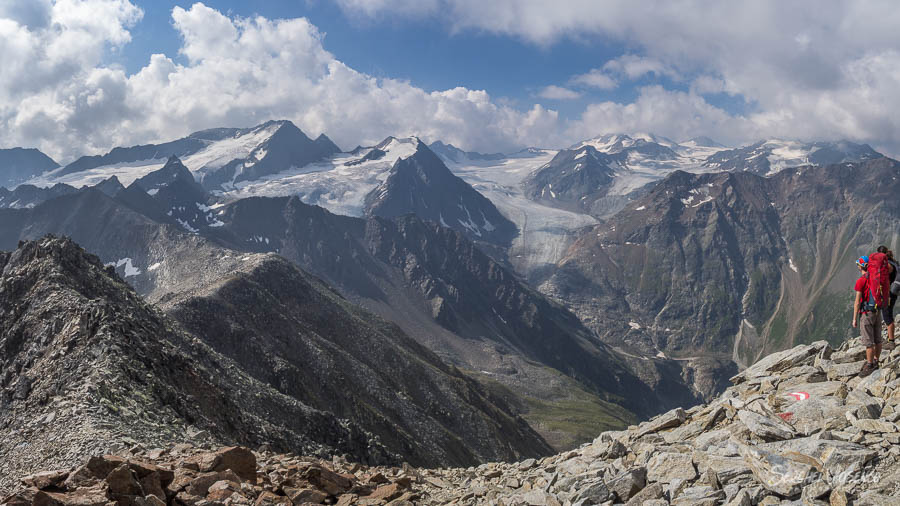 View of mountains and glaciers on a mountain hike Austrian Alps Photography