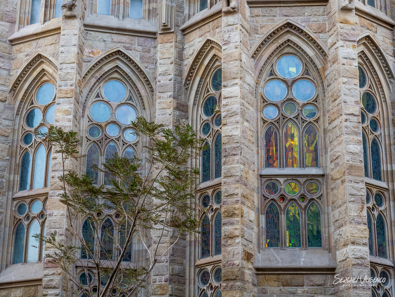 Colorful mosaic glass windows in the cathedral